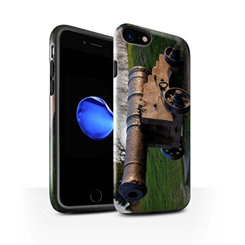 STUFF4 Glanz Harten Stoßfest Hülle / Case für Apple iPhone 8 / Boote Muster / Britischen Küste Kollektion Alte Kanone