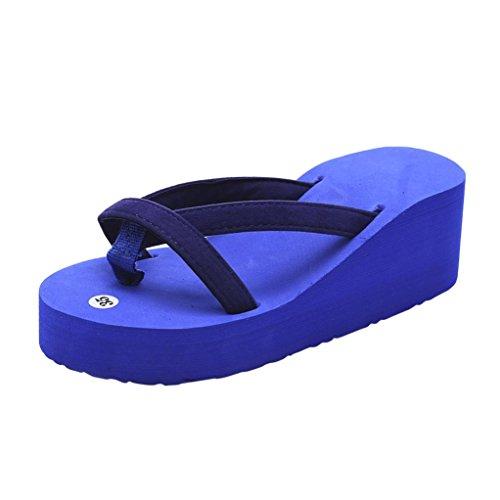 VJGOAL Damen Sandalen, Damen Mädchen Frau Geschenk Sommer Mode Slipper Flip Flops Strand Keil Dicke Sohle Stöckelschuhe (35 EU, Blau)