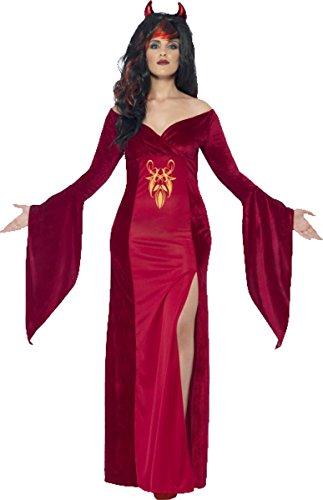 Kostüme Halloween Uk Teufel (Damen Erwachsene Fancy Party Halloween Zauberin Outfit Kurven Teufel Kostüm rot Gr. UK Kleid 38-40,)