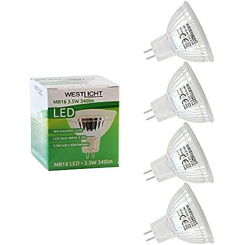 Westlicht MR16 3.5W GU5.3| Kit de ahorro 4x | Bombillas LED | AC o DC 12V 3.5W 120° 340lm cálido blanco
