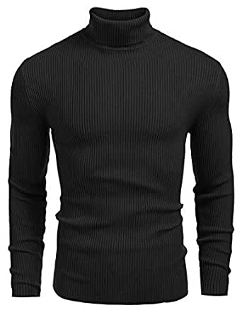 DENIMHOLIC Mens Ribbed Slim Fit Knitted Pullover Turtleneck Sweater (Black, Small)