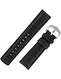 Hirsch Grand Duke Water-Resistant Alligator Embossed Sport Watch Strap with Buckle in Black/Black (22mm, Brushed Buckle)
