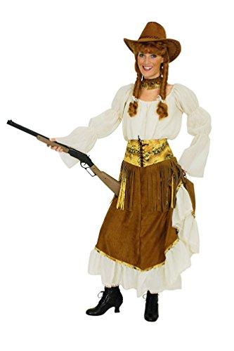 Karneval-Klamotten Cowboy Cowgirl Kostüm Damen Frauen Western-Kostüm braun-weiß -