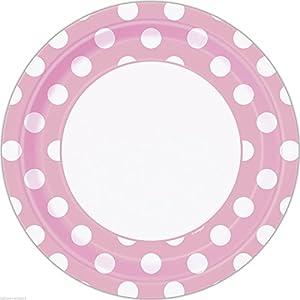 Unique Party- Paquete de 8 platos de papel a lunares, Color rosa claro, 37975)