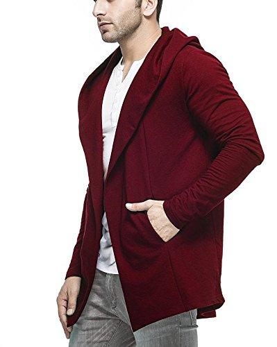 Veirdo Men's Cotton Blend Hooded Cardigan Casual wear, Party wear (Medium, Maroon)
