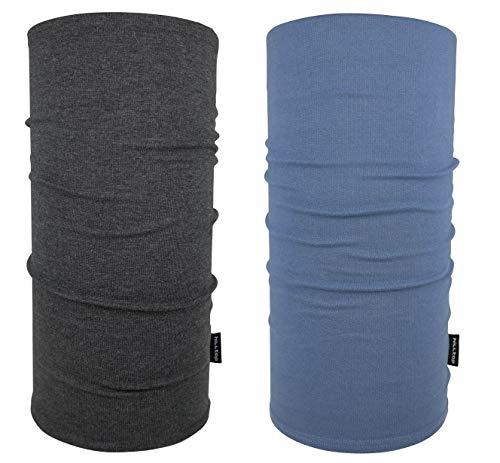 Hilltop scaldacollo da moto scaldacollo multifunzionale sciarpa tubolare bandana sciarpa 100% cotone colore/disegnoset di 2 grigio scuro e blu