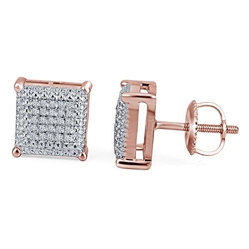 lilu Jewels naturel rond blanc coupe Diamant Boucles d'oreilles clous en argent sterling 925carré 10mm pcs 14k Rose Gold Plated