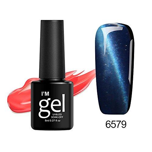 Nagellack Set UV Nagelgel, Leuchtend Fluoreszierenden Katzenauge Magnet Gellack Glow in Dark, Halloween Decor für Frauen ()