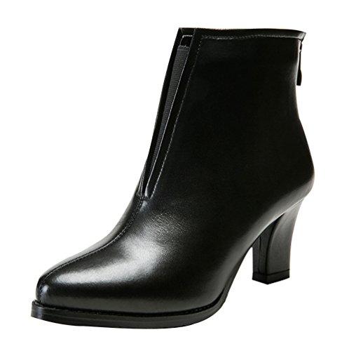 Chalmart Boots Femme Pur Couleur Chaussure De Talon Chaussure De Cuir Nori