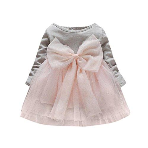 ädchen Kleid , Janly Kinder elegante Tutu Kleid Baby Bowknot Prinzessin Sommerkleid Tunika Tops (0-1 Jahre alt, Grau) (Elegante Baby-mädchen-kleider)