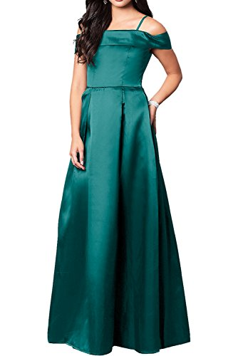 Ivydressing Elegant Schwarz Satin Neu Promkleider 2017 Abendkleider Lang Ballkleider Tuerkis