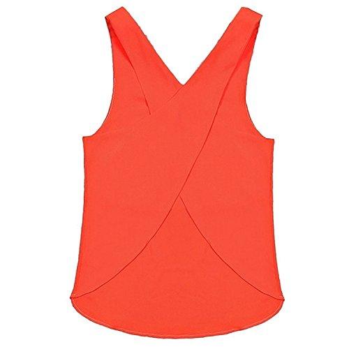 Minetom Damen Sexy Süßigkeiten Farbe Rückenfrei Gurt Chiffon Tank Tops Vest Bluse Shirts Orange