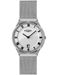 Rotary Men's Quartz White Dial Analogue Display and Silver Stainless Steel Bracelet GB02609/21