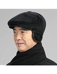 ERKEJI Berretto Piatto Velluto di Mezza età Cappello Uomo Inverno avanti  Uomini Vecchi di Anziani Berretto 9aae4876f986