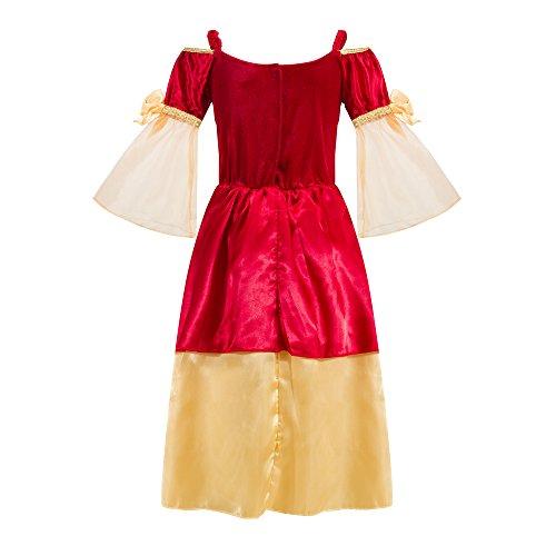 Katara 1763-128/134 – Kinder Mädchen-Kostüm Burgfräulein Kleid – Mittelalter Verkleidung Prinzessin Königin Geschenk zu Karneval, Fasching, Ritterfest – 128/134, Rot-Gold - 2