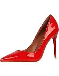 De Amazon 8 Rojas 11 es Zapatos Tacón Cm Sandalias 0qrO60