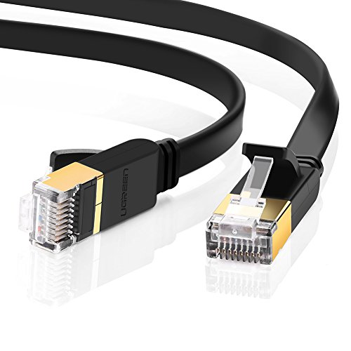 5m Cable de Red Cat 7, UGREEN Cable Ethernet Lan 10000Mbit/s con conector RJ45 (10 Gigabit, 600MHz, cable STP), Compatible con CAT 6, CAT 5e, CAT 5, Plano, Negro