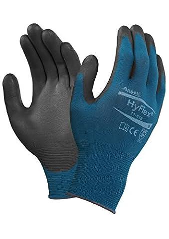 Ansell HyFlex 11-616 Gants pour usages multiples, protection mécanique, Noir, Taille 8 (Sachet de 12 paires)