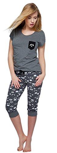 Sensis edler Baumwoll-Pyjama Hausanzug aus wunderschönem Oberteil und toller Capri-Hose mit Bündchen, made in EU (M (38), dunkelgrau mit Eiffelturm)