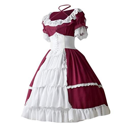 Lazzboy Halloween Kostüm Cosplay Mittelalterlicher Weinlesegotischer Gerichtskleidkuchenrock-Spitze Kleid Zusammenstößt Damen Korsagekleid Gothic Hexenkostüm (Rot,XL)