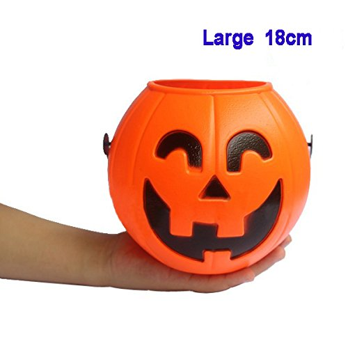 SODIAL(R)Halloween Pumpkin Trick Treat Loot bonbon sucre Titulaire de Carry Jar Jug Barrel Party - 18CM