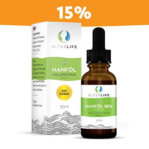 AlterLife Hanf Öl 15% CB Komponenten 1500mg | Hanf Öl - Tropfen |GMP-ISO Standard | Premium...