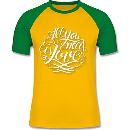 Statement Shirts - All you need is love Lettering - zweifarbiges Baseballshirt für Männer Gelb/Grün