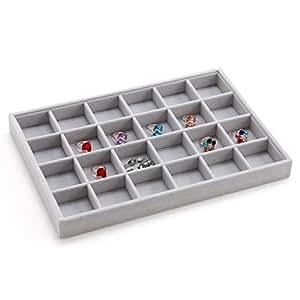 vassoio di gioielli di alta qualità grigio velluto/Anelli Collane Orecchini Bracciali gioielli storage scatola/ Visualizza elementi-A