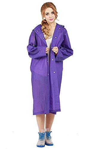 KekeHouse® Durchlässigkeit Transparenter Regenmantel Regenjacke Damen Mädchen Regencape Umwelt-freundlich EVA Purpur