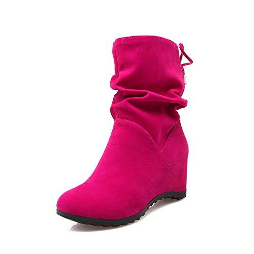 Voguezone009 donna punta tonda tacco medio nappa puro tirare stivali, rosso, 37
