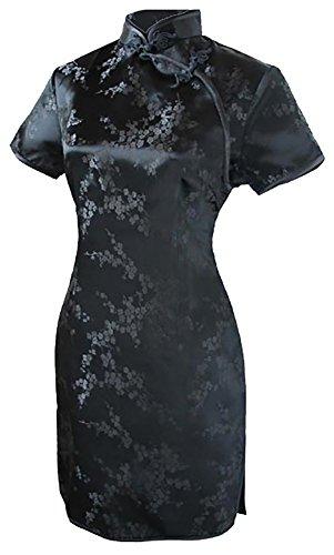 7Fairy Damen Schwarz Chinesisch Abend Kleid Cheongsam Mini Blumen Größe De 36 (Cheongsam Satin Kleid Chinesische)