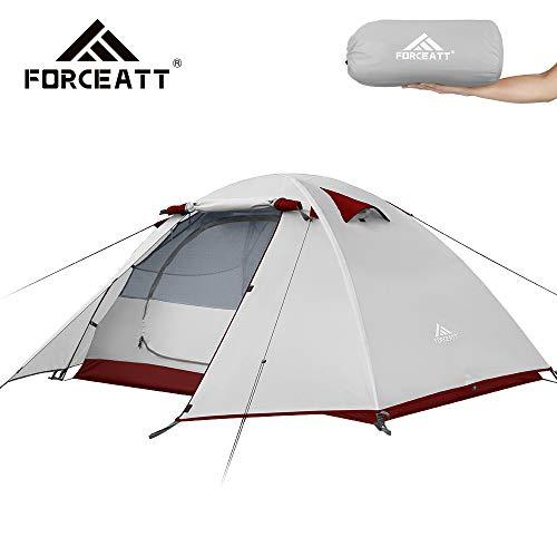 forceatt tenda campeggio 1-2 posti con 100% anti uv and impermeabile, con borsa per il trasporto facile da montare, tende fit per zaino in spalla per viaggi di coppia, escursioni outdoor