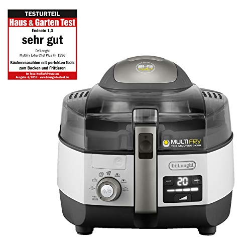 DeLonghi MultiFry Extra Chef Plus FH 1396 Heißluftfritteuse/Multicooker (1,7 kg Fassungsvermögen, 1400W/1000W, 4 l, 8 Portionen, SHS-Double-Pro, Grillfunktion, Rezepte-App) grau/weiß