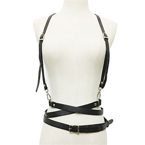 Vbiger Womens Sexy Body Harness Leather Harness Adjustable Buckles Waist belts Girl