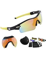 Duco polarisierte - Sport-Sonnenbrille mit 5 auswechselbaren Gläsern UV400 Schutz - Sportbrille fürs Radfahren -Laufbrille Joggbrille 0026