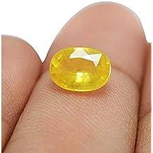 Vaibhav Gems Yellow Sapphire Stone Original Unheated Untreated Pukhraj Gemstone Certified 7.25 Ratti