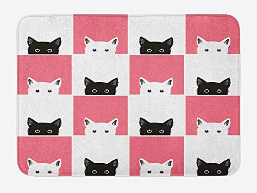 VTXWL Cats Bath Mat, Chess Board Design with Cute Kittens Feline Baby Kitty Animals Pets Retro Mosaic, Plush Bathroom Decor Mat with Non Slip Backing, 23.6 W X 15.7 W Inches, Black White Pink (Bunk Board)