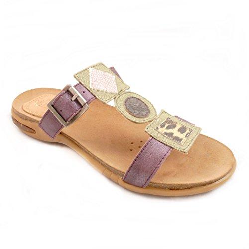 Ayurveda Shoes and Feelings Damen Echtleder Bio Pantoletten Violett (877 Flieder) Sandalen (37)