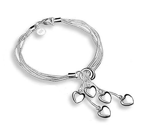 Hosaire 1X Charm Fashion Tai Chi Hanging 5 Heart Silver Bracelet Chain For Women Girls Present