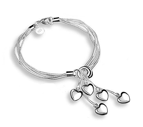 Price comparison product image Hosaire 1X Charm Fashion Tai Chi Hanging 5 Heart Silver Bracelet Chain For Women Girls Present