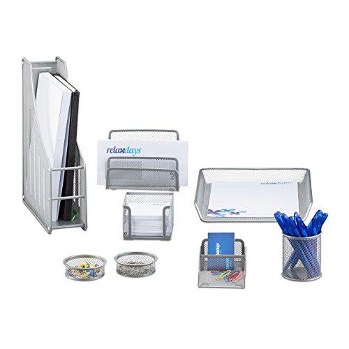 Relaxdays Schreibtisch Organizer Set, 8-Teilig, Metall, Schreibtisch-Set, Briefablage, Zettelbox,...