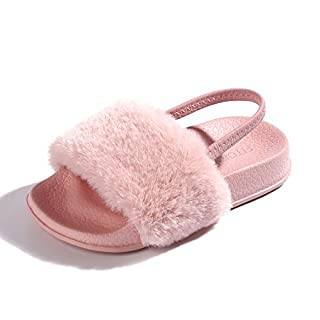 FITORY Girls Sandals Kids Fluffy Sliders Toddlers Fur Slippers Infants Sandals for Indoor/Outdoor Children Size 2.5-11UK Pink