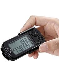 HiHiLL Podomètre 3D Compteur d'Étapes, Distance, Consommation de Calories, Exercise Minuterie et 30 jours de Mémoire d'Entraînement, Mini Poche Podomètre Marche avec Clip (OD-P1, noir)