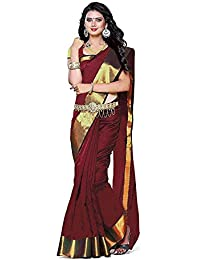 Shopsmarty Cotton Saree With Blouse Piece (Ssy114_Red_Free Size)