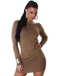 Jela London Damen Strickkleid   Pullover mit Zierkette Einheitsgröße (34-40) 961ca261c6