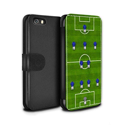STUFF4 PU-Leder Hülle/Case/Tasche/Cover für Apple iPhone SE / 4-1-2-1-2/Weiß Muster / Fußball Bildung Kollektion 4-2-3-1/Blau