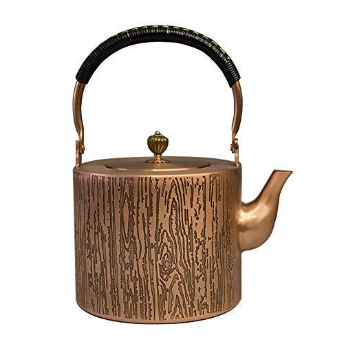 Mfun-CH Japanischer Stil Gegossen Kupfer Teekanne Kupfermetall Teekanne Mit Kupfer Deckel, Mit Isolierten Griff Teekanne, Gekochtes Wasser Gesundheit Retro-Handwerk