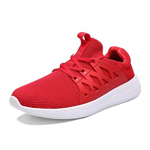 Scarpe da Tennis comode e Traspiranti per Uomo Scarpe da Passeggio Leggere Sneakers (45 EU, 2-Rosso)