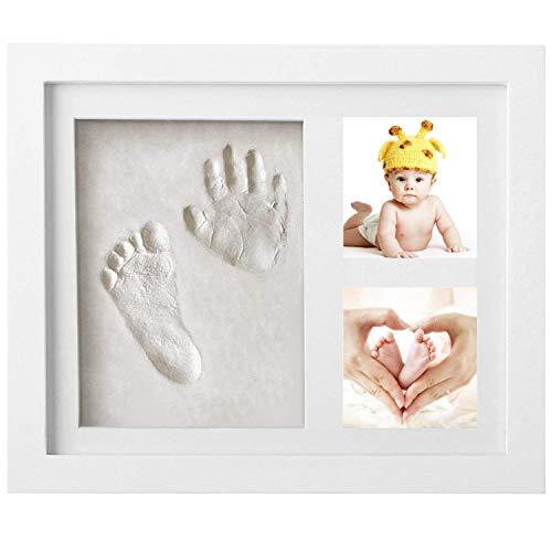 Bilderrahmen Baby - Newlemo Gipsabdruck Baby Hand und Fuß, Baby Bilderrahmen mit Gipsabdruck Tolles Geschenk für Neugeborene (3 gitter, weiß)
