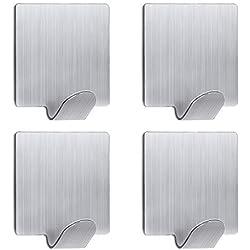 TWJD 3M gancio autoadesivo gancio in acciaio inox cappotto cappello porta asciugamano per cucina bagno (confezione da 4)